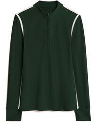 Tory Sport Reflective-stripe Quarter-zip Pullover - Green