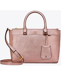 Tory Burch - Robinson Metallic Small Double-zip Tote - Lyst