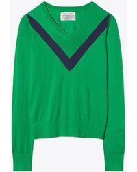 Tory Burch - Performance Cashmere Chevron Sweater - Lyst