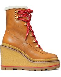 Tory Burch Hiker Wedge Shearling Boot - Brown