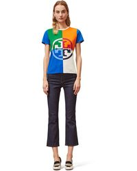 Tory Burch Color-block Logo T-shirt - Blue