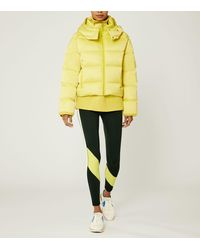 Tory Sport Cropped Performance Satin Down Jacket - Yellow