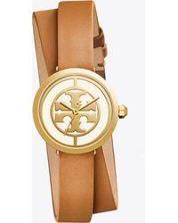 Tory Burch Reva Leather Watch, 28mm Double Wrap Luggage/gold - Metallic