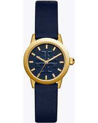 Tory Burch - Gigi Watch, Navy Leather/gold-tone, 28 Mm - Lyst