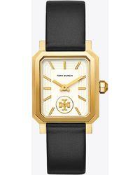 Tory Burch - Robinson Watch, Black Leather/gold-tone, 27 X 29 Mm - Lyst
