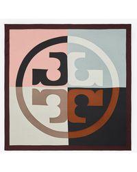 Tory Burch - Colorblock Logo Silk Square Scarf - Lyst