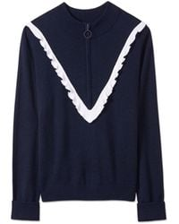 Tory Sport Performance Cashmere Ruffle Sweater - Blue