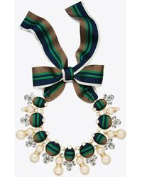 Tory Burch - Ribbon Pearl Statement Necklace - Lyst