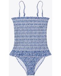 Tory Burch - Strapless Smocked One-piece Swimsuit - Lyst