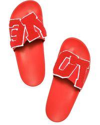 Tory Sport Love Slide Sandals - Red