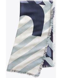 Tory Burch Stella Logo Oversized Square Scarf - Blue
