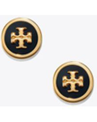 Tory Burch Lacquered Logo Stud Earring - Metallic