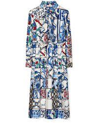Tory Burch Kleid Aus Seide Mit Schleife - Blau