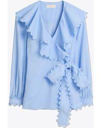 Tory Burch Scalloped Cotton Wrap Shirt - Blue