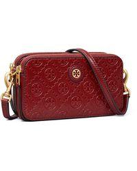 Tory Burch Mini Bag Aus Leder Mit Zwei Reißverschlüssen Und T-Monogramm - Rot