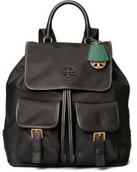 Tory Burch Perry Nylon Flap Backpack - Black
