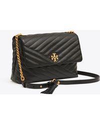 5c8ccbe9022c Lyst - Tory Burch Kira Deco Chain Leather Shoulder Bag in Black