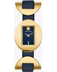 Tory Burch - Jacques Watch, Navy Leather, Gold Tone, 28 X 33 Mm - Lyst