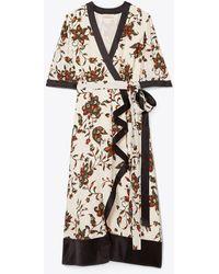 Tory Burch Printed Wrap Dress - White