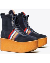 Tory Burch Striped High-top Platform Sneakers Boots - Blue