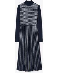 Tory Burch Striped Knit Jumper Dress - Blue