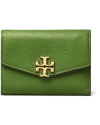 Tory Burch Kira Mixed-materials Medium Flap Wallet - Green