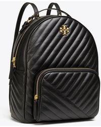 Tory Burch Kira Chevron Leather Zip Around Backpack - Black