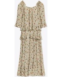 Tory Burch - Printed Ruffle Maxi Dress - Lyst
