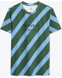 Tory Burch Striped Embroidered Tee - Blue