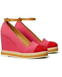 Tory Burch Color-Block Ankle-Strap Wedge Espadrille - Rot