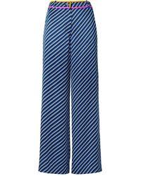 Tory Burch Contrast-binding Printed Pyjama Pant - Blue