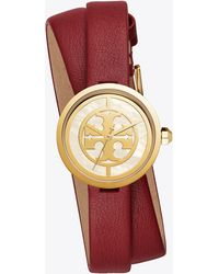 Tory Burch - Reva Double Wrap Leather Strap Watch - Lyst