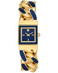 Tory Burch Tilda Watch, Gold-Tone Stainless Steel/Blue, 21 Mm - Mettallic