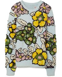 Tory Burch Floral Intarsia Pullover - White