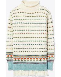 Tory Burch - Jacquard Fringed Sweater - Lyst