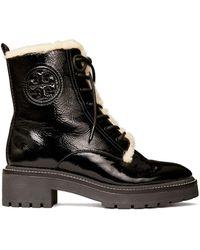 Tory Burch Miller Shearling Lug Sole Boot - Black