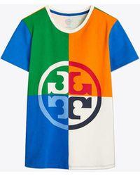 Tory Burch Color-block Logo T-shirt - Blue