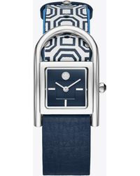 Tory Burch - Thayer Watch, Navy Leather/stainless Steel, 25 X 39 Mm - Lyst