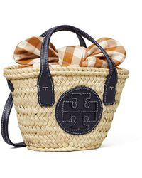 Tory Burch Ella Basket Micro Tote Bag Aus Stroh - Mehrfarbig