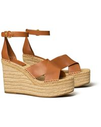 Tory Burch Selby Ambra Leather Wedge Espadrille Sandals - Brown