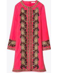 61669a5e11369 Tory Burch - Metallic Embroidered Cotton And Silk-blend Kaftan - Lyst