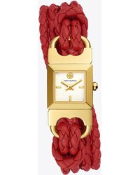 Tory Burch - Double T Link Braided Watch, Red Leather/gold-tone, 18 Mm - Lyst