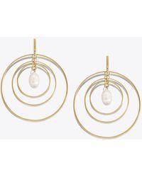 Tory Burch - Wire Hoop Pearl Earring - Lyst