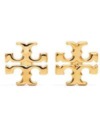Tory Burch Logo Stud Earrings - Metallic