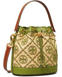 Tory Burch T Monogram Straw Bucket Bag - Green