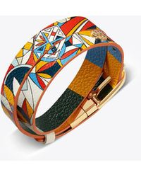 Tory Burch - Printed Reversible Double-wrap Bracelet - Lyst