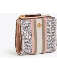 Tory Burch Mini Gemini Link Coated Canvas Wallet - Pink