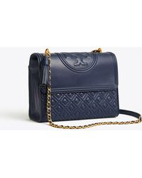 5710c5f5060a Tory Burch Fleming Patent Micro Shoulder Bag in Blue - Lyst