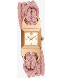 Tory Burch - Double T Link Braided Watch, Pink Leather/rose Gold-tone, 18 Mm - Lyst