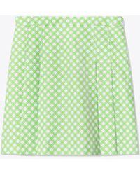 Tory Sport Printed Tech Twill Pleated Golf Skirt - Green